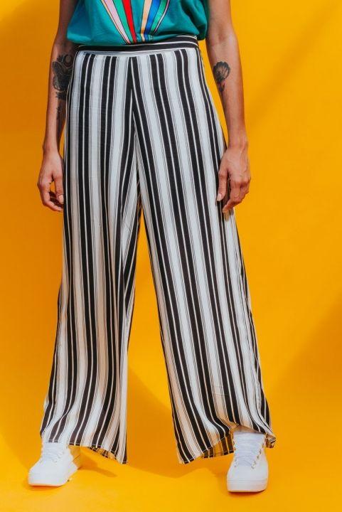 Calça Pantalona Branca Listrada PB