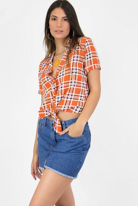 Camisa Xadrez Coral