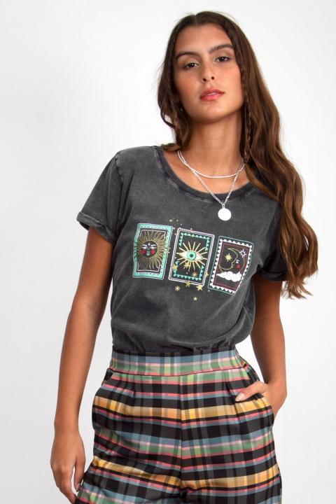 Camiseta Babylook Cartas da Sorte Marmorizada