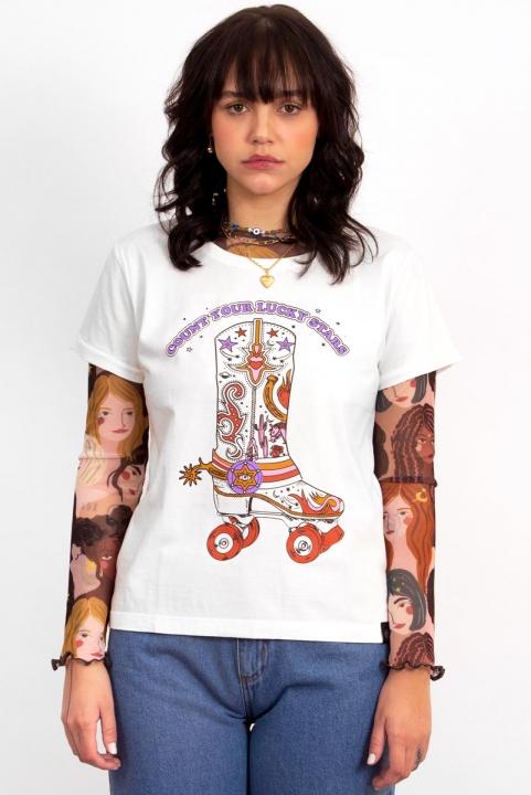 Camiseta Babylook Lucky Stars