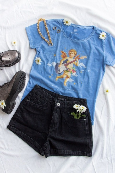 Camiseta Babylook PLUS Anjo Rocker