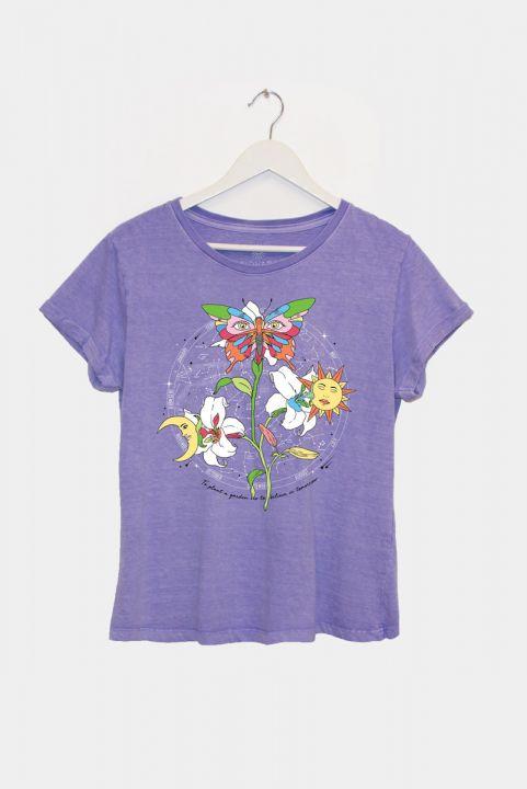 Camiseta PLUS Baby Look Lilás Meu Jardim