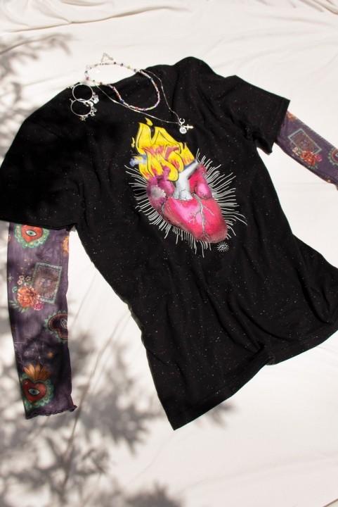 Camiseta T-shirt Corazón Flames