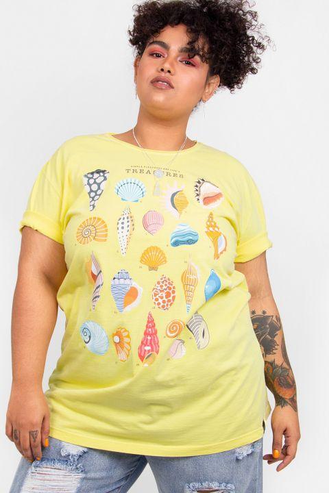 Camiseta T-shirt PLUS Conchinhas Treasure