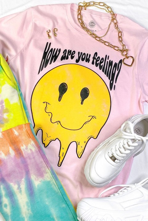 Camiseta T-shirt PLUS Smile Rosa Feeling