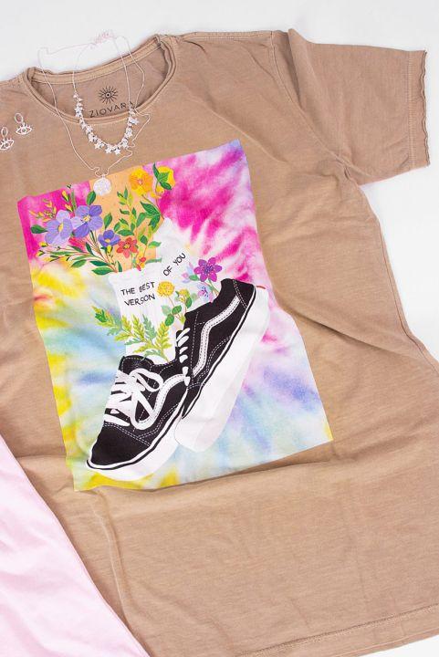 Camiseta T-shirt Tênis com Flores