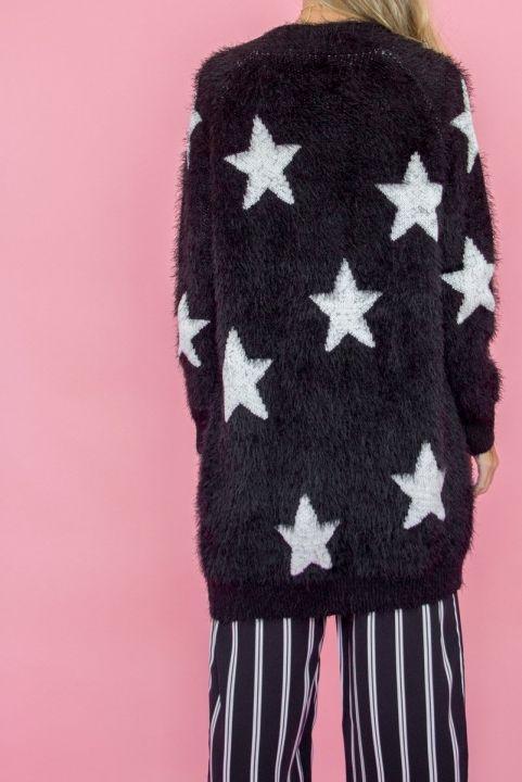 Casaco Tricot Peluciado Estrelas Preto