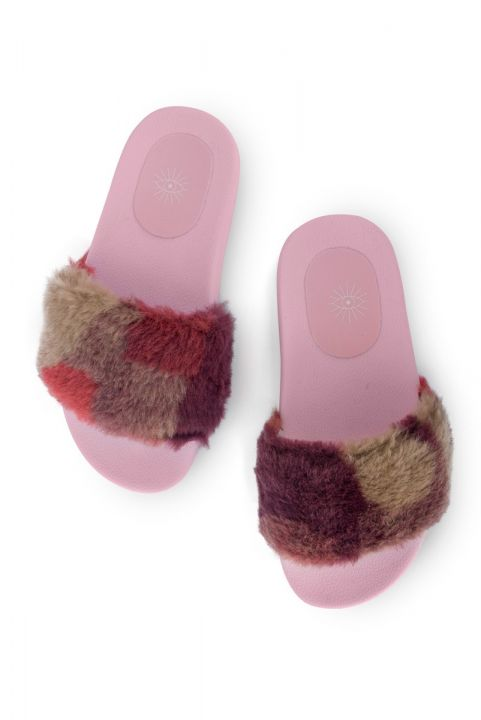 Chinelo Slide Pelúcia Patchwork