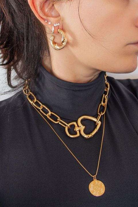 Colar Chain Coração - Dourado
