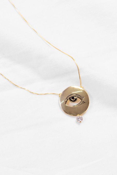 Colar SJ Medalha Desenho Olho com Zirconia