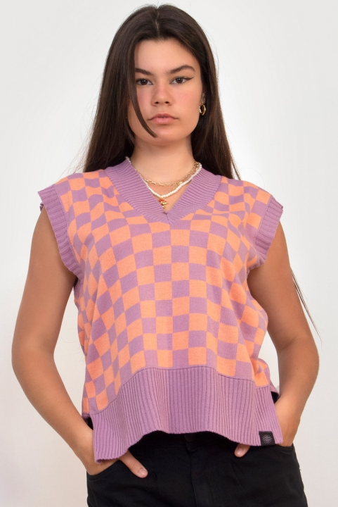 Colete Tricot Checkerboard Lilás