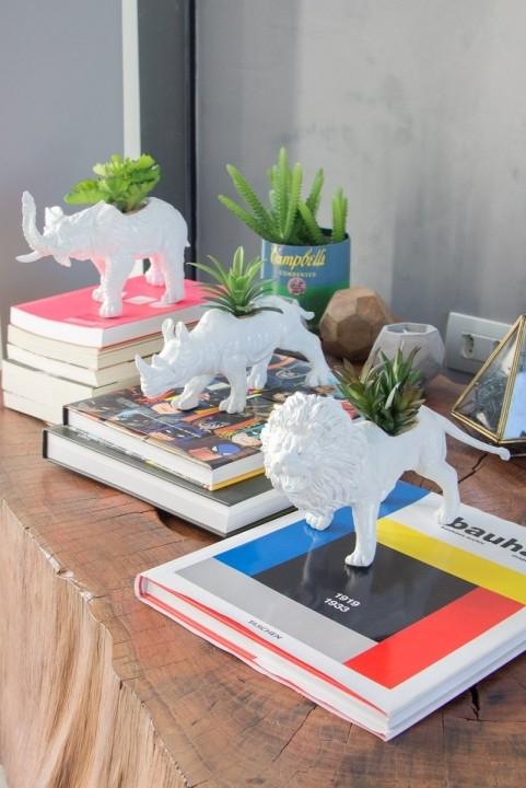 Combo Decor Savana: Leão + Elefante + Rinoceronte
