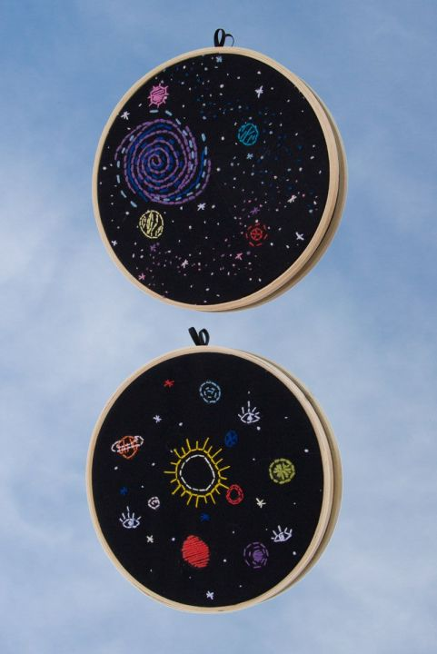 Combo Quadrinhos Bordados Decor Sky
