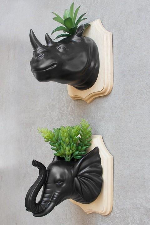 Combo Vasos Decor Cabeça Bicho