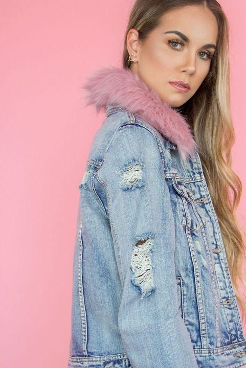 Jaqueta Jeans Destroyed W/ Fur Rosa