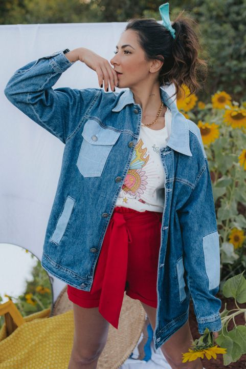 Jaqueta Jeans Oversized Patch
