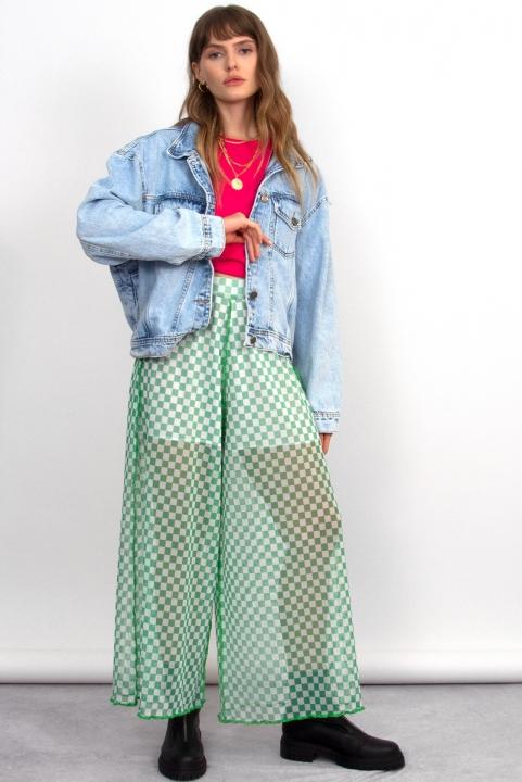 Pantalona Tule Checkerboard Pistache
