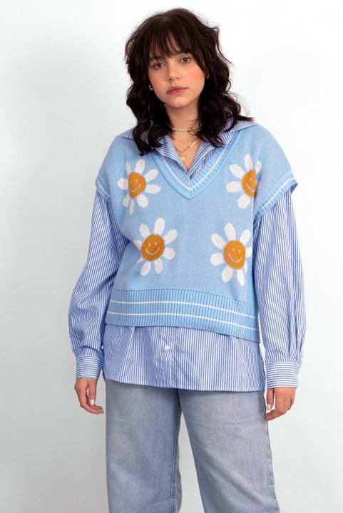 PRÉ VENDA Colete Tricot Margaridas Azul