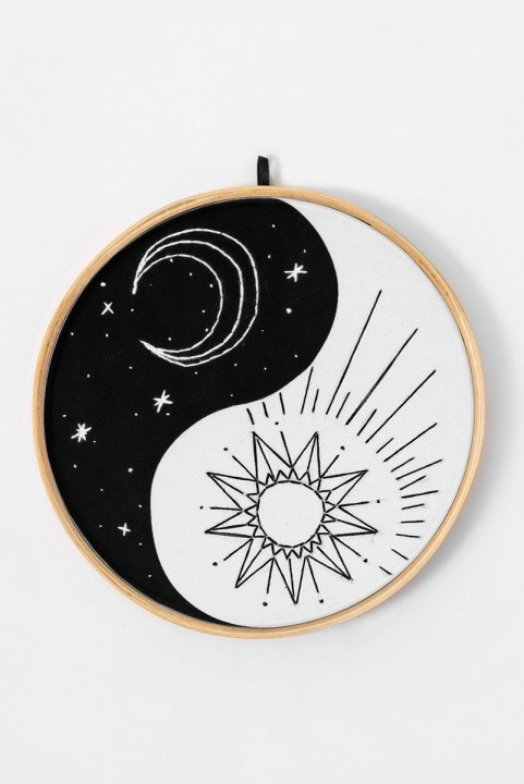 Quadrinho Bordado Decor Yin Yang