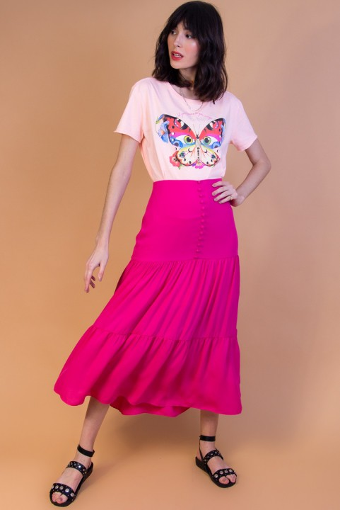 Saia Midi Botões Pink Nati