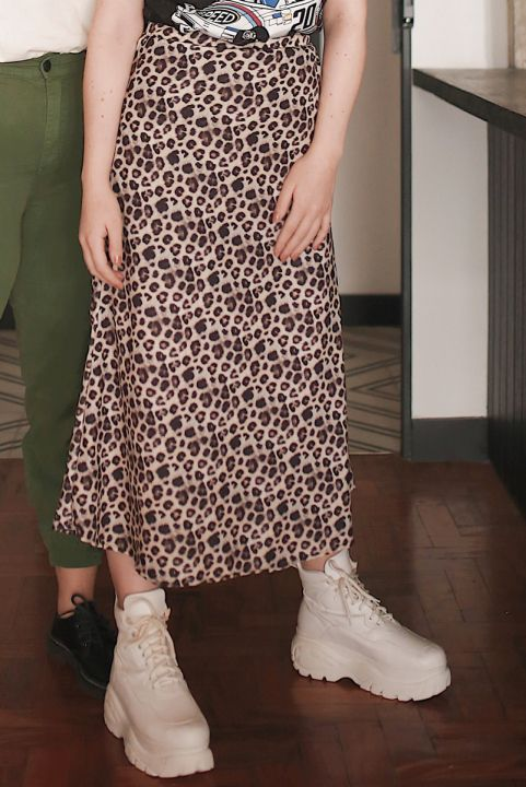 Saia Midi Neutral Leopard