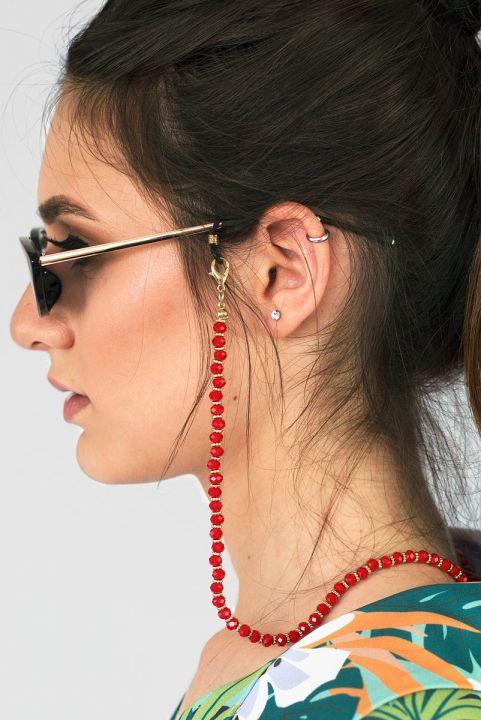 Salva Óculos Miçangas Vermelho
