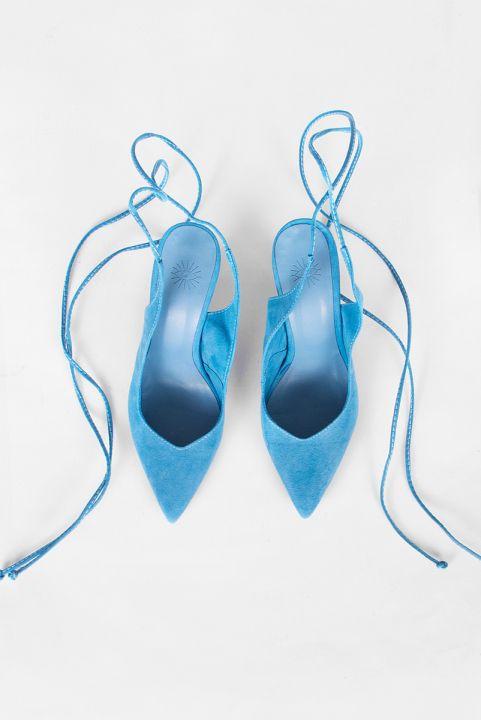 Scarpin Mule Amarração - Azul