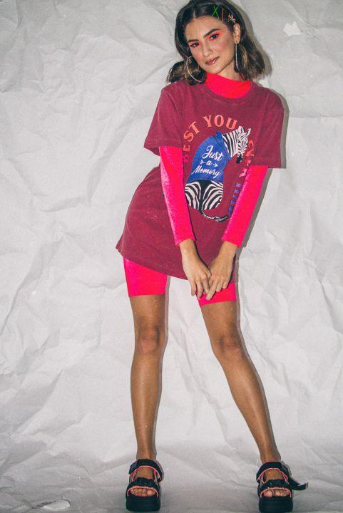 Shorts Biker Neon Coral