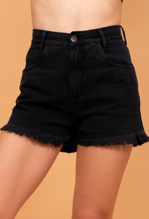 Shorts Jeans Desfiado Preto