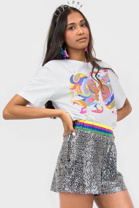 Shorts Paetê Prata Rainbow