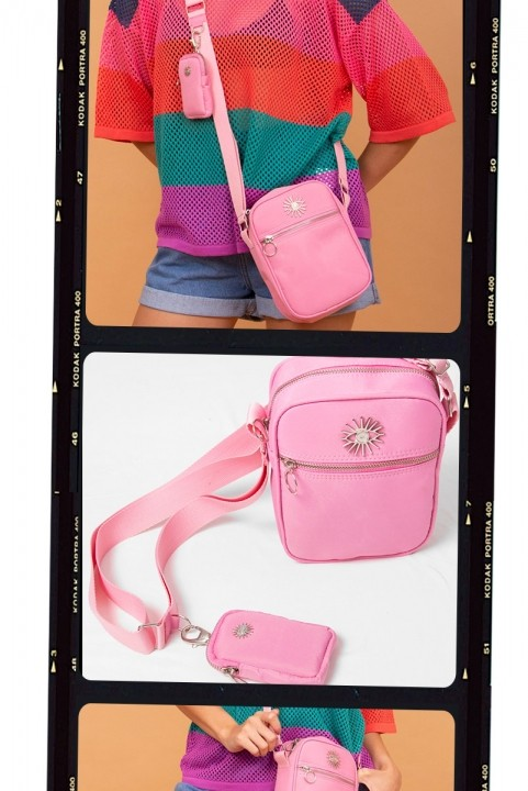 Shoulder Bag Multi Rosa c/ Níquel