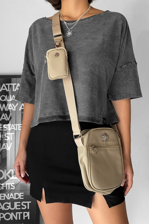 Shoulder Bag Multi Taupe c/ Níquel