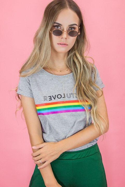 T-shirt Baby Look Arco-Iris Revolution