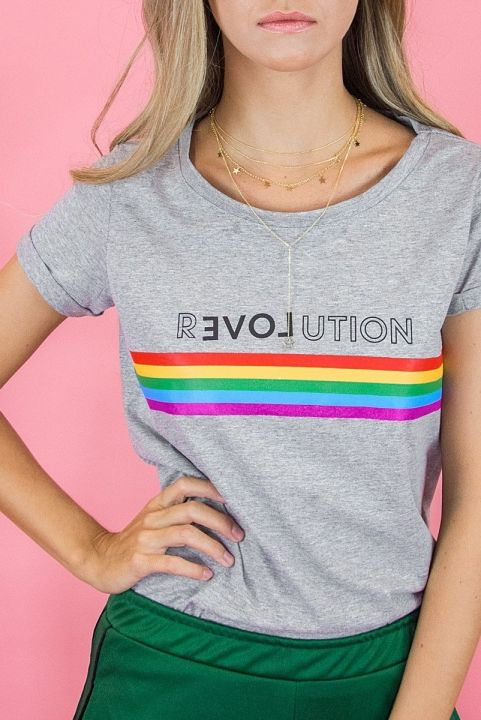 T-shirt Baby Look Arco-Iris Revolution