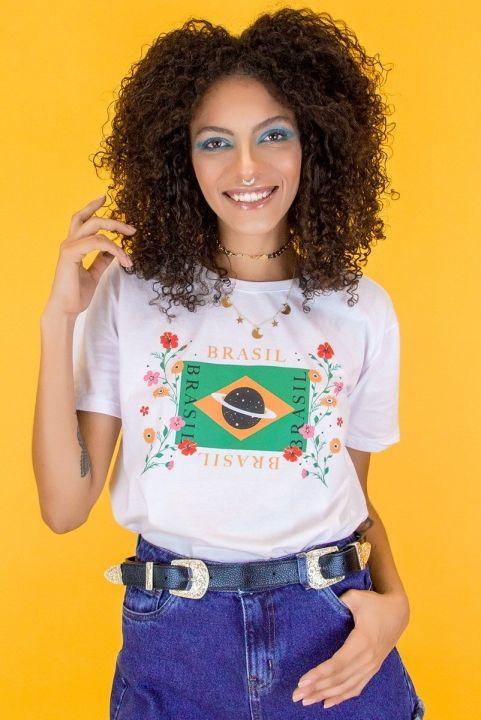 T-shirt Brasil w/ Flores Unisex Branca