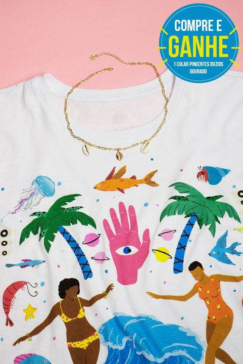 T-shirt Girls Surf Too + COLAR GRÁTIS
