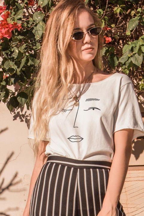 T-shirt Off Esquisses Rosto