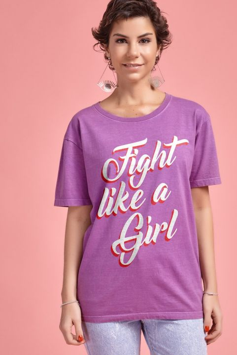"T-shirt Orquídea ""Fight Like a Girl"