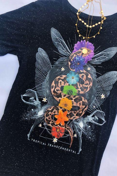 T-shirt PLUS Cobra Arco-Íris De Energia