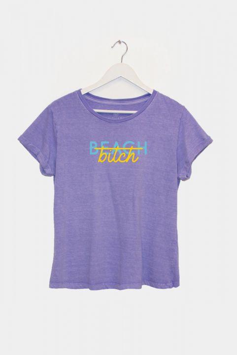 T-shirt PLUS Lilás Beach, Bitch
