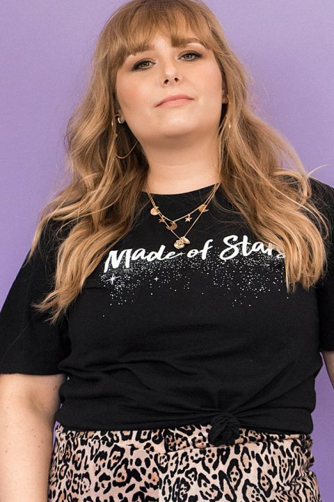 T-shirt PLUS Preta Made Of Stars