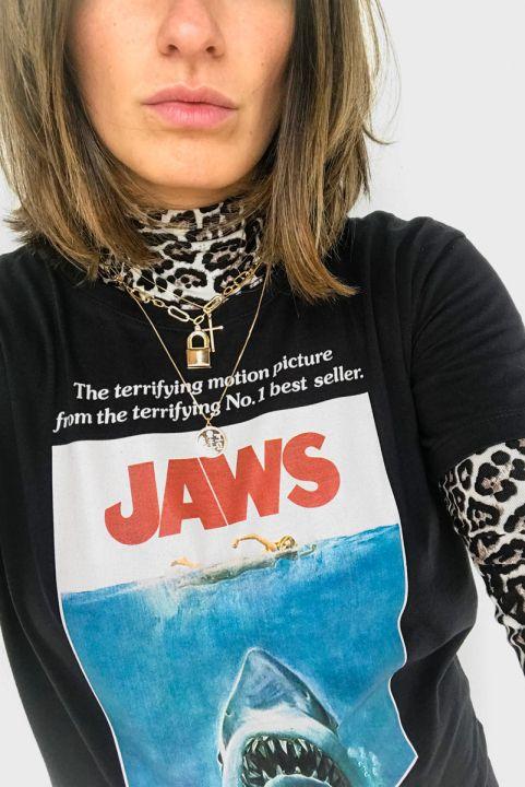 T-shirt PLUS Tubarão JAWS Preta