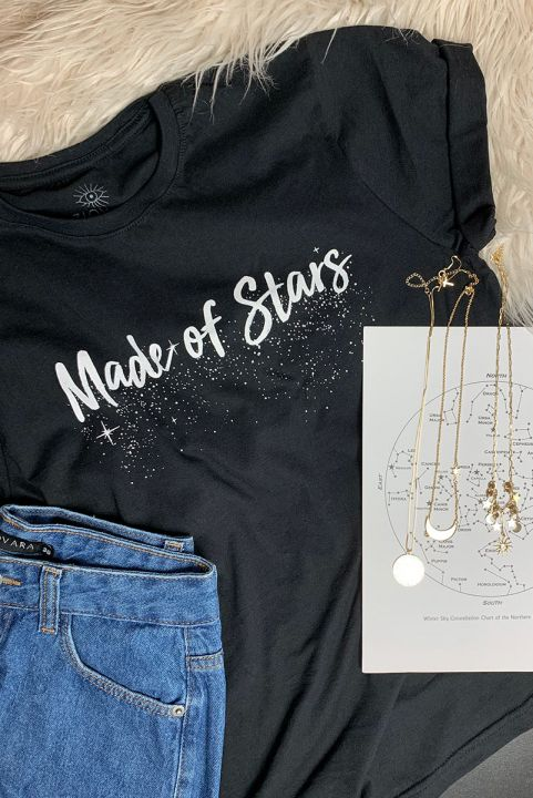 Camiseta T-shirt Preta Made Of Stars