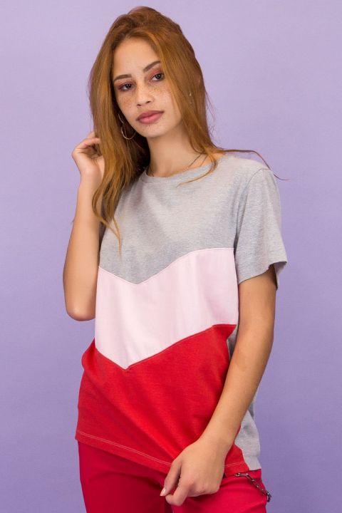 T-shirt Recortes Tricolor
