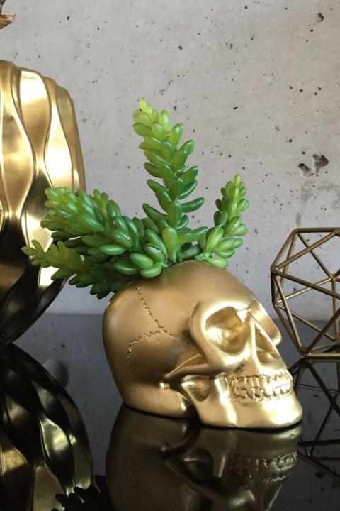 Vaso Decor Caveira Dourado