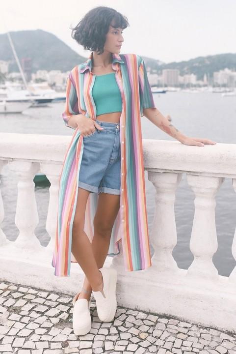 Vestido Chemise Listrado Brisa