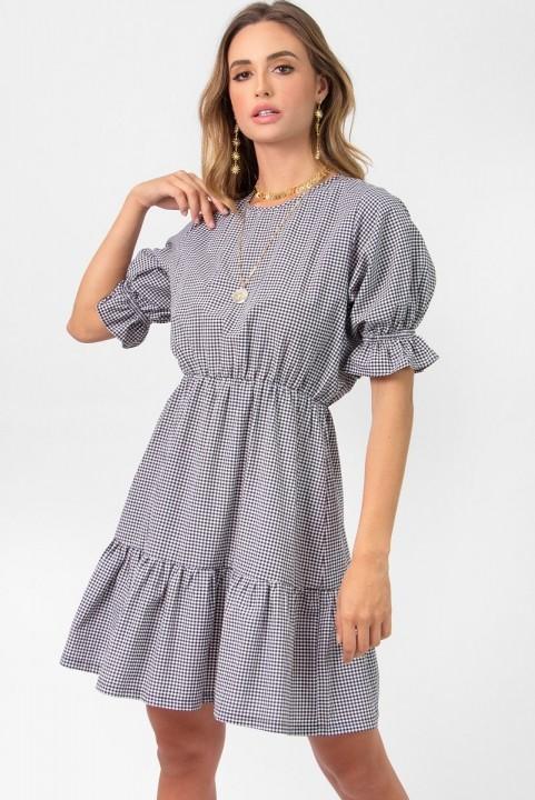 Vestido Curto Camadas Xadrez Vichy