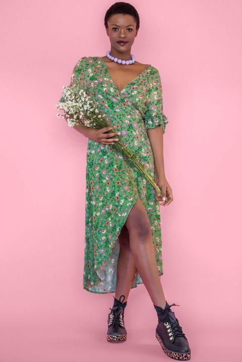 Vestido Envelope Midi Brigida  - Menta