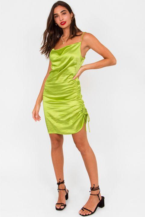 Vestido Franzido Satin Lime