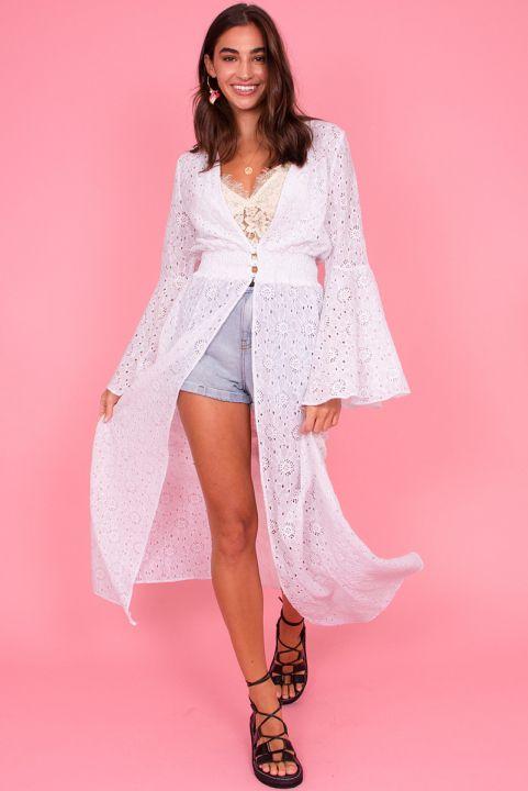 Vestido Kimono Renda Branco
